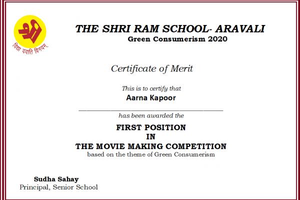 Aarna Kapoor_Green Consumerism 2020